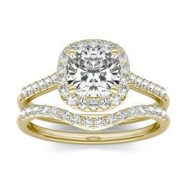 2 CTW Cushion Caydia Lab Grown Diamond Signature Halo with Side-Stones Bridal Set Ring 18K Yellow Gold, SIZE 7.0 Stone Color E