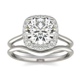 2 3/4 CTW Cushion Caydia Lab Grown Diamond Signature Halo Bridal Set Ring 18K White Gold, SIZE 7.0 Stone Color E