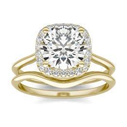 2 3/4 CTW Cushion Caydia Lab Grown Diamond Signature Halo Bridal Set Ring 18K Yellow Gold, SIZE 7.0 Stone Color E