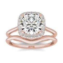 2 3/4 CTW Cushion Caydia Lab Grown Diamond Signature Halo Bridal Set Ring 18K Rose Gold, SIZE 7.0 Stone Color E
