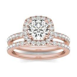 1 2/3 CTW Round Caydia Lab Grown Diamond Halo Bridal Set Ring 14K Rose Gold, SIZE 7.0 Stone Color E