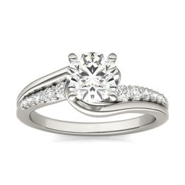1 1/4 CTW Round Caydia Lab Grown Diamond Solitaire with Side Accents Flair Engagement Ring 14K White Gold, SIZE 7.0 Stone Color E