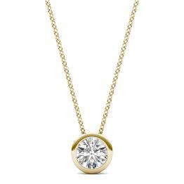 1/2 CTW Round Caydia Lab Grown Diamond Bezel Set Solitaire Necklace 18K Yellow Gold