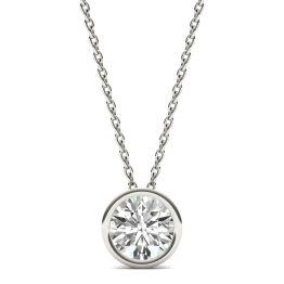 1 CTW Round Caydia Lab Grown Diamond Bezel Set Solitaire Necklace 14K White Gold