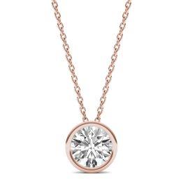 1 CTW Round Caydia Lab Grown Diamond Bezel Set Solitaire Necklace 14K Rose Gold