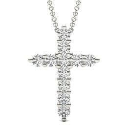 1 1/10 CTW Round Caydia Lab Grown Diamond Cross Necklace 14K White Gold