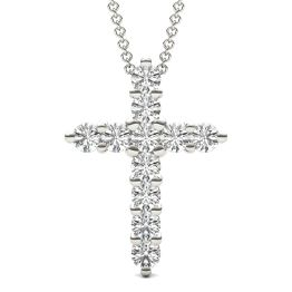 1 1/10 CTW Round Caydia Lab Grown Diamond Cross Necklace 18K White Gold
