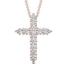 1 1/10 CTW Round Caydia Lab Grown Diamond Cross Necklace 14K Rose Gold