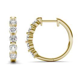 1 CTW Round Caydia Lab Grown Diamond Bar Set Hoop Earrings 14K Yellow Gold