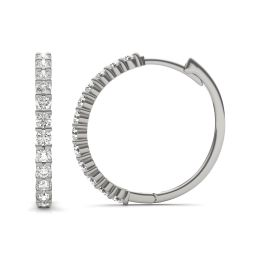 1/2 CTW Round Caydia Lab Grown Diamond Shared Prong Hoop Earrings 14K White Gold