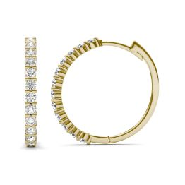 1/2 CTW Round Caydia Lab Grown Diamond Shared Prong Hoop Earrings 14K Yellow Gold