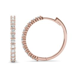 1/2 CTW Round Caydia Lab Grown Diamond Shared Prong Hoop Earrings 14K Rose Gold