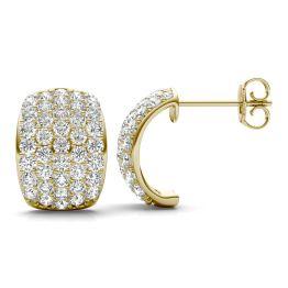 1 7/8 CTW Round Caydia Lab Grown Diamond Five Row Hoop Earrings 14K Yellow Gold