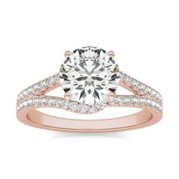 1 7/8 CTW Round Caydia Lab Grown Diamond Infinity Loop Engagement Ring 14K Rose Gold, SIZE 7.0 Stone Color E