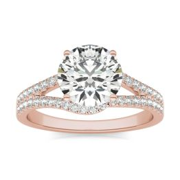 2 1/3 CTW Round Caydia Lab Grown Diamond Infinity Loop Engagement Ring 14K Rose Gold, SIZE 7.0 Stone Color E