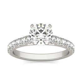 1 CTW Round Caydia Lab Grown Diamond Solitaire with Side Accents Engagement Ring 14K White Gold, SIZE 7.0 Stone Color E