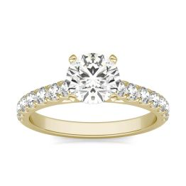 1 CTW Round Caydia Lab Grown Diamond Solitaire with Side Accents Engagement Ring 14K Yellow Gold, SIZE 7.0 Stone Color E