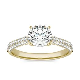 1 1/2 CTW Round Caydia Lab Grown Diamond Pave Engagement Ring 18K Yellow Gold, SIZE 7.0 Stone Color E