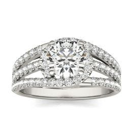 1 2/5 CTW Round Caydia Lab Grown Diamond Multi Row Engagement Ring 14K White Gold, SIZE 7.0 Stone Color E
