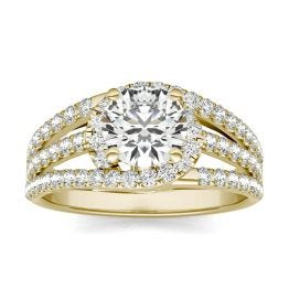 1 2/5 CTW Round Caydia Lab Grown Diamond Multi Row Engagement Ring 18K Yellow Gold, SIZE 7.0 Stone Color E