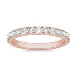 1/2 CTW Round Caydia Lab Grown Diamond Wedding Band Ring 14K Rose Gold, SIZE 7.0 Stone Color F