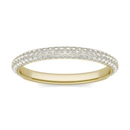 1/2 CTW Round Caydia Lab Grown Diamond Three Row Pave Band Ring 14K Yellow Gold, SIZE 7.0 Stone Color F