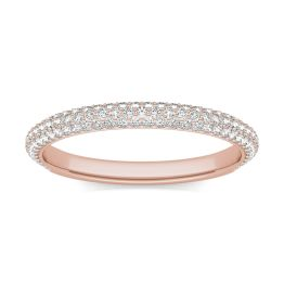 1/2 CTW Round Caydia Lab Grown Diamond Three Row Pave Band Ring 18K Rose Gold, SIZE 7.0 Stone Color F