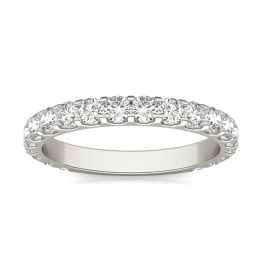 1.00 CTW DEW Round Forever One Moissanite Shared Prong Anniversary Band Ring 14K White Gold, SIZE 7.5