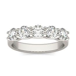 1 1/4 CTW Round Caydia Lab Grown Diamond Five Stone Anniversary Band Ring 14K White Gold