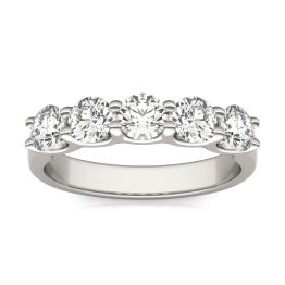 1.15 CTW DEW Round Forever One Moissanite Five Stone Band Ring 14K White Gold