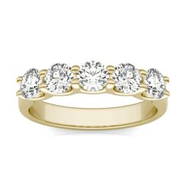 1.15 CTW DEW Round Forever One Moissanite Five Stone Band Ring 14K Yellow Gold