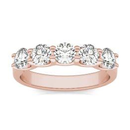 1 1/4 CTW Round Caydia Lab Grown Diamond Five Stone Anniversary Band Ring 14K Rose Gold