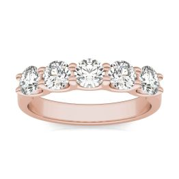 1.15 CTW DEW Round Forever One Moissanite Five Stone Band Ring 14K Rose Gold