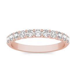 1/2 CTW Round Caydia Lab Grown Diamond Classic Wedding Band Ring 18K Rose Gold, SIZE 7.0 Stone Color F