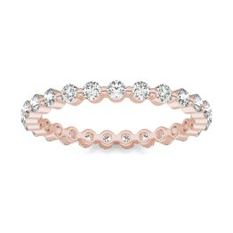3/4 CTW Round Caydia Lab Grown Diamond Single Prong Eternity Band Ring 14K Rose Gold