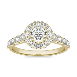 1 1/3 CTW Round Caydia Lab Grown Diamond Shared Prong Halo Engagement Ring 18K Yellow Gold, SIZE 7.0 Stone Color E
