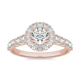 1 1/3 CTW Round Caydia Lab Grown Diamond Shared Prong Halo Engagement Ring 18K Rose Gold, SIZE 7.0 Stone Color E