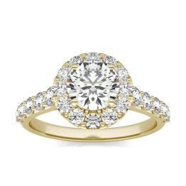 2 1/15 CTW Round Caydia Lab Grown Diamond Shared Prong Halo Engagement Ring 18K Yellow Gold, SIZE 7.0 Stone Color E
