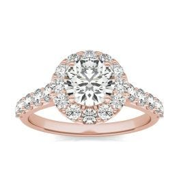 2 1/15 CTW Round Caydia Lab Grown Diamond Shared Prong Halo Engagement Ring 18K Rose Gold, SIZE 7.0 Stone Color E