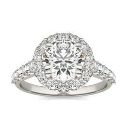 2 1/2 CTW Round Caydia Lab Grown Diamond Shared Prong Halo Engagement Ring 14K White Gold, SIZE 7.0 Stone Color E