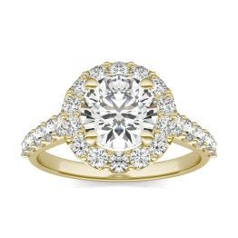 2 1/2 CTW Round Caydia Lab Grown Diamond Shared Prong Halo Engagement Ring 14K Yellow Gold, SIZE 7.0 Stone Color E