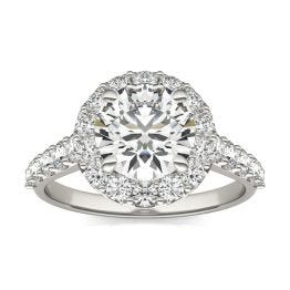 3 CTW Round Caydia Lab Grown Diamond Shared Prong Halo Engagement Ring 18K White Gold, SIZE 7.0 Stone Color E