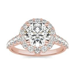 3 CTW Round Caydia Lab Grown Diamond Shared Prong Halo Engagement Ring 14K Rose Gold, SIZE 7.0 Stone Color E