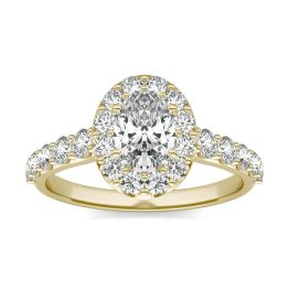 1 3/4 CTW Oval Caydia Lab Grown Diamond Shared Prong Halo Engagement Ring 18K Yellow Gold, SIZE 7.0 Stone Color E