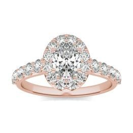 1 3/4 CTW Oval Caydia Lab Grown Diamond Shared Prong Halo Engagement Ring 14K Rose Gold, SIZE 7.0 Stone Color E