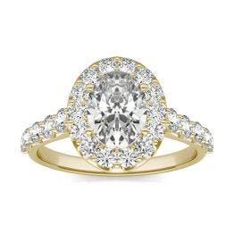 2 3/8 CTW Oval Caydia Lab Grown Diamond Shared Prong Halo Engagement Ring 18K Yellow Gold, SIZE 7.0 Stone Color E