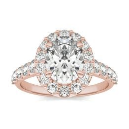 3 CTW Oval Caydia Lab Grown Diamond Shared Prong Halo Engagement Ring 14K Rose Gold