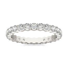 1 1/4 CTW Round Caydia Lab Grown Diamond Scallop Edge Eternity Band Ring 18K White Gold