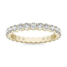 1 1/4 CTW Round Caydia Lab Grown Diamond Scallop Edge Eternity Band Ring 18K Yellow Gold