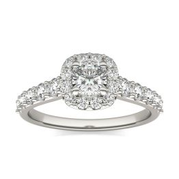 1 1/3 CTW Cushion Caydia Lab Grown Diamond Shared Prong Halo Engagement Ring 14K White Gold, SIZE 7.0 Stone Color E
